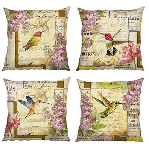 Bonhause Juego de 4 Funda de Cojín 45x45cm Vintage Pájaro Flores Algodón Lino Fundas de Almohada para Cojines Decorativos para Sofá Cama Coche Hogar