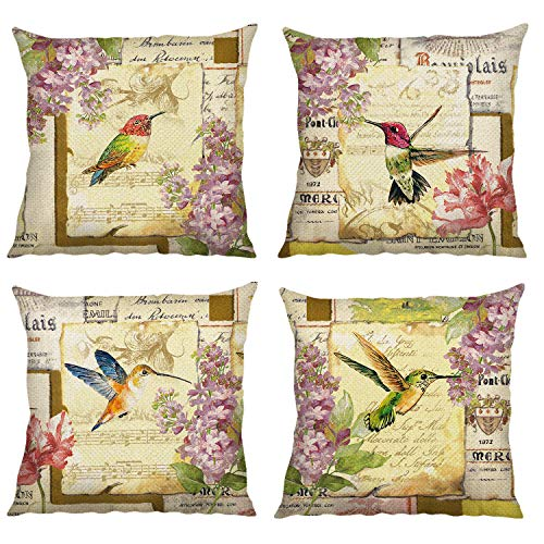 Bonhause Vintage Bird Cushion Covers 18 x 18 Inch Set of 4 Flower Decorative Throw Pillow Covers Cotton Linen Square Pillowcases for Sofa Couch Car Bedroom Home Décor, 45cm x 45cm