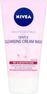 NIVEA Daily Essentials Gentle Cream Face Wash with Natural Almond Oil & Hydra IQ For Dry & Sensitive Skin, 150ml