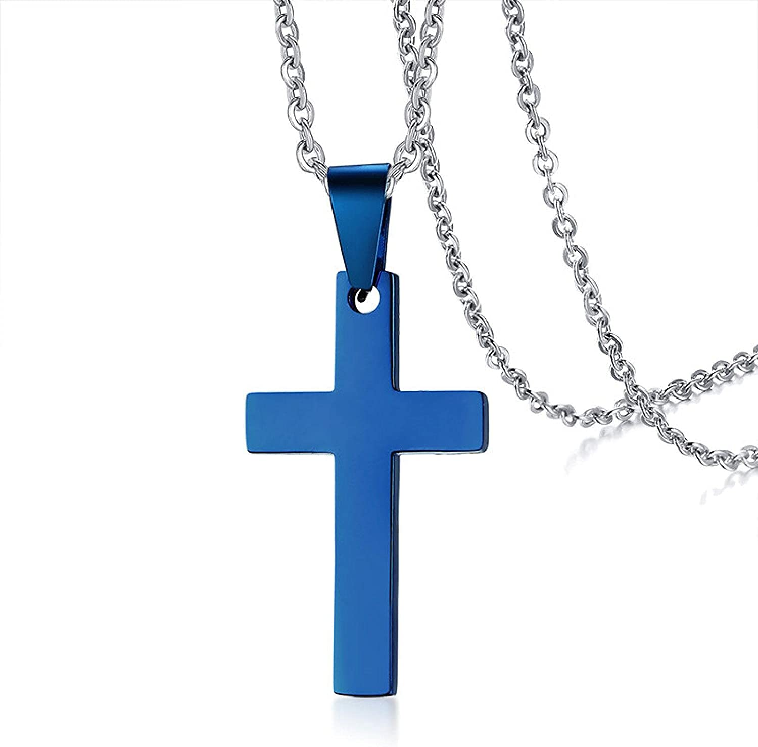 Popular standard Gold Silver Color Black Blue Classic NEW before selling ☆ Men Necklace Cross Pendant