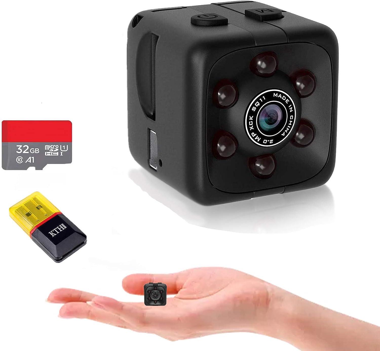 OUCAM Mini Spy Camera Include 32G SD Card Hidden Camera HD Audio and Video Recording, Night Vision Motion Detection, Surveillance Camera Small Dog Camera Nanny Cam Baby Monitor Home Security Camera