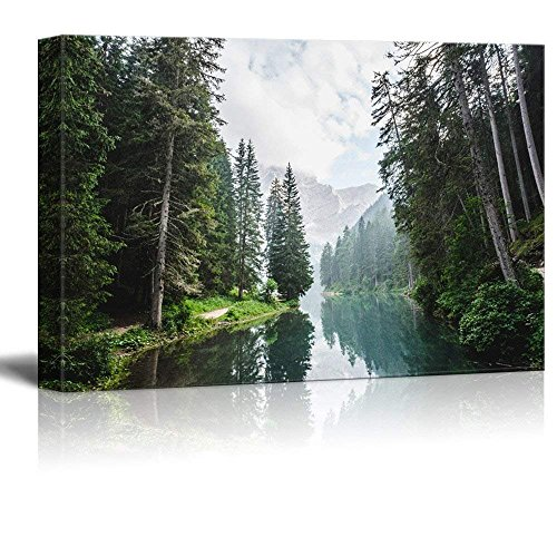 wall26 Canvas Wall Art - Clear Lake and Mountain in The Forest - Giclee Print Gallery Wrap Modern Home Art Ready to Hang - 16x24 inches