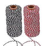 FOGAWA 2pz Cordón de Algodón Macramé 2mm para Cocinar Hilo Rojo y Blanco de Macrame de Colores...