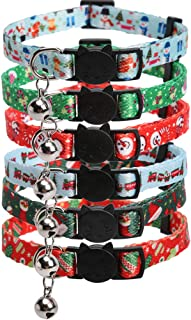 Lamphyface 6 Pack Christmas Cat Collar with Bell Breakaway Adjustable