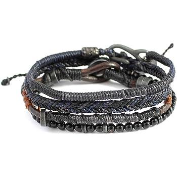 メンズEarth Bracelet 4ストランド–Dark Night