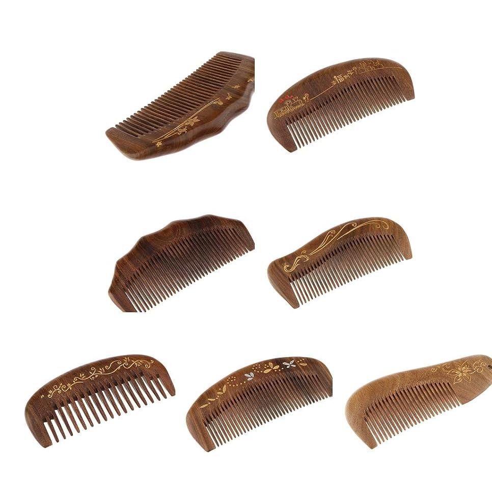 劣る促進するユーザーP Prettyia 7個 静電防止 ナチュラル 細かい歯 木製 ヘアマッサージコーム ヘアブラシ