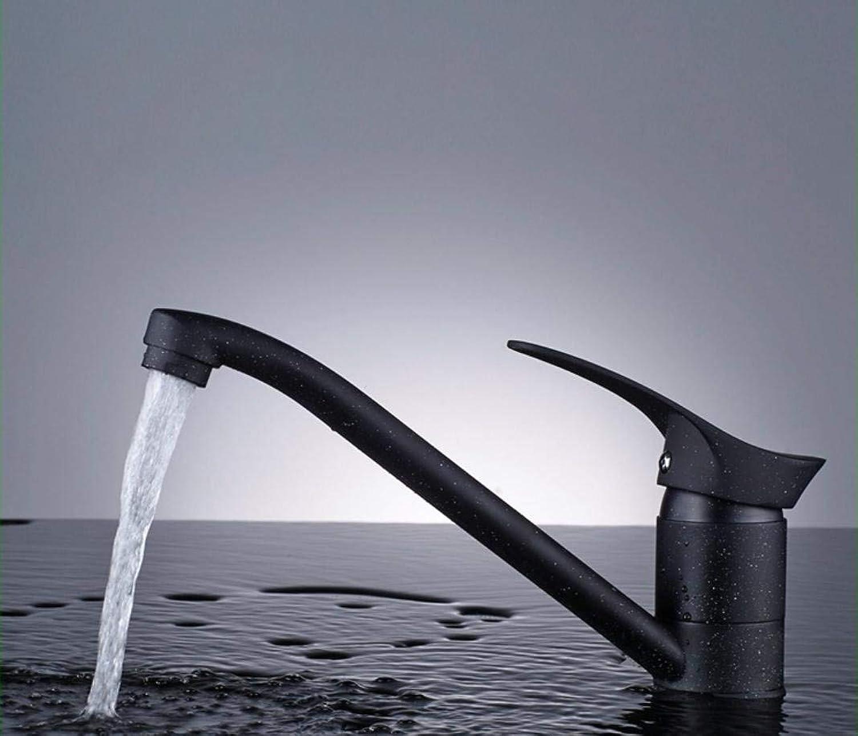 WENYAO Vollkupfer schwarz weier Punkt Quarzstein Waschbecken Wasserhahn kann Küchenarmatur gedreht Werden