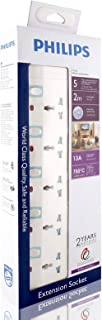 Philips 5 Way Heavy duty Indivisual Switch Socket - 2 Meter