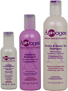 ApHogee Two-Step Protein Treatment 4oz + Balancing Moisturizer 8oz + Keratin & Green Tea Shampoo 12oz