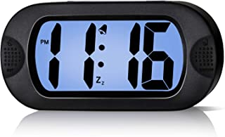 Betus LCD Digital Alarm Clock with Snooze Function and Backlight - Large Screen Big Bold Numbers Desk Digital Alarm Clock with Silicone Protective Cover, Battery Powered (Black)