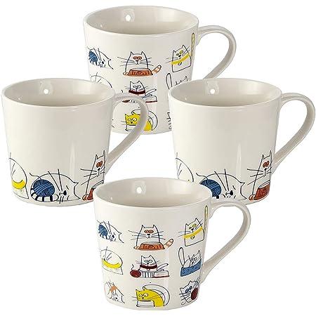 Tasse Chat - Lot de 4 Tasses à Café à Thé en Ceramique, Mug Original avec Motif Chats Drôles Decoratif, Animaux et Chat Cadeau pour les Amateurs des Chat Femme Homme
