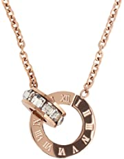 ローマ数字 サークル スワロフスキー クリスタル リング ペンダント 18金 ピンクゴールド仕上げ ネックレス ステンレス ジュエリー レディース Pink Gold 胸元 …