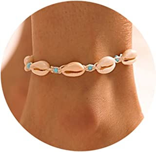 Simsly Boho Shell Anklet Beach Ankle Bracelets Woven Beaded Chain For Women and Girls JL-0150 (White)