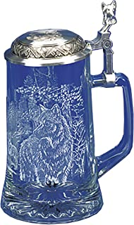 GLASS TIMBER WOLF GLASS BEER STEIN Designed by JAMES MEGER