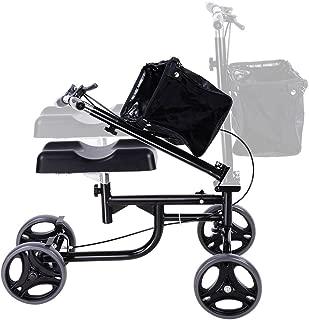 ZeHuoGe Knee Walker Scooter Foldable with Basket Adjusted Height Walking Aid Padded 3.5