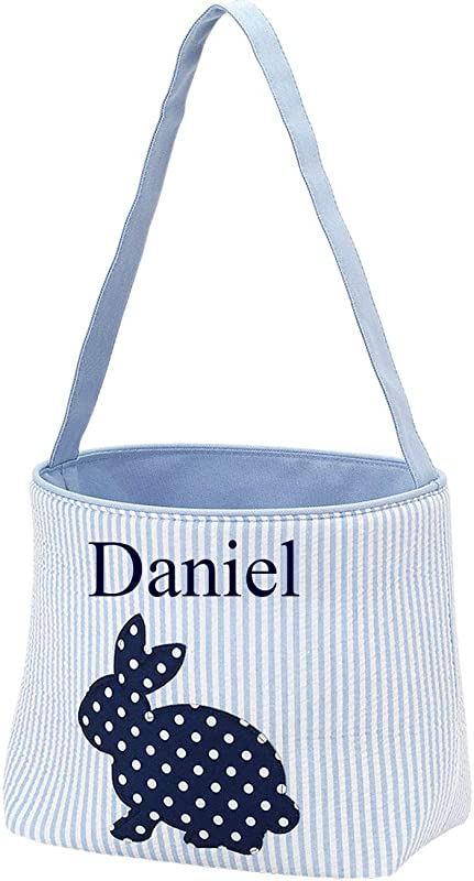 Personalized Blue Cotton Tail Easter Bucket