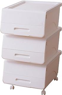 山善(YAMAZEN) オープンボックス フタ付き収納ボックス 3個組 浅型 キャスター付き ホワイト
