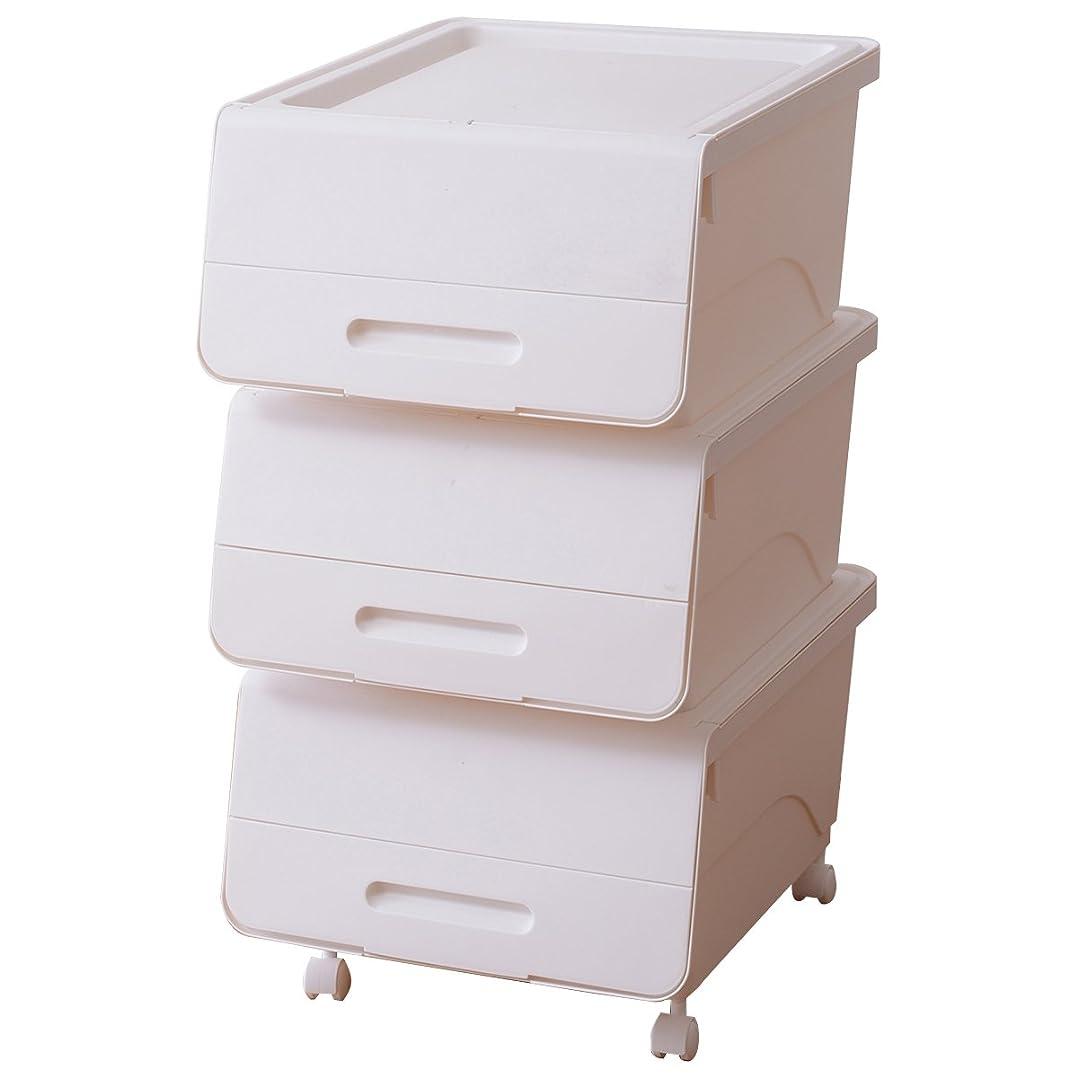 シットコム理想的推定山善 積み重ね 収納ケース 幅38.5×奥行46×高さ24cm 日本 浅型 レギュラー キャスター付き(4個) 積み重ねOK オープンボックス 完成品 ホワイト 3個組 FR-23WH*3+C