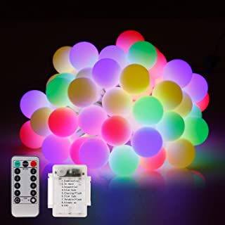 KVK Globe String Lights, 23ft 50 LED Battery Powered String Lights with Remote Timer Room Hanging Bedroom Decoration Fairy Lights for Indoor Outdoor, Gazebo, Party, Garden - 8 Modes, Waterproof (RGB)