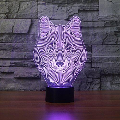 BHUIJN Statuen Und Skulpturen Kreatives Geschenklicht des Wolfskopfacrylnachtlichts 3D-Tischlampe