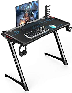 Kinsal Z-Shaped Gaming Desk Computer Desk Table with Fighting RGB LED Ambience Lighting and Large Size Mousepad, Racing Table E-Sports Ergonomic Comfortable PC Desk (Free DVD Self and Cupolder)
