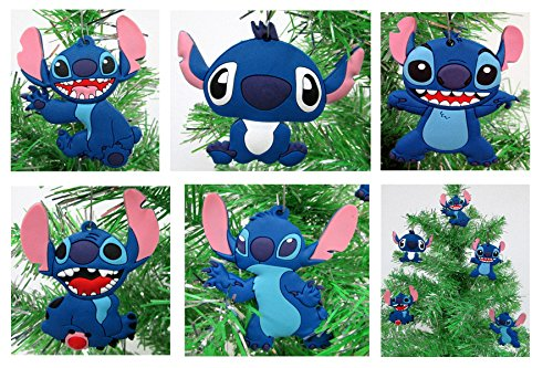 Lilo and Stitch Holiday Christmas Ornament Set - Unique Shatterproof Plastic Design Around 2' to 3'