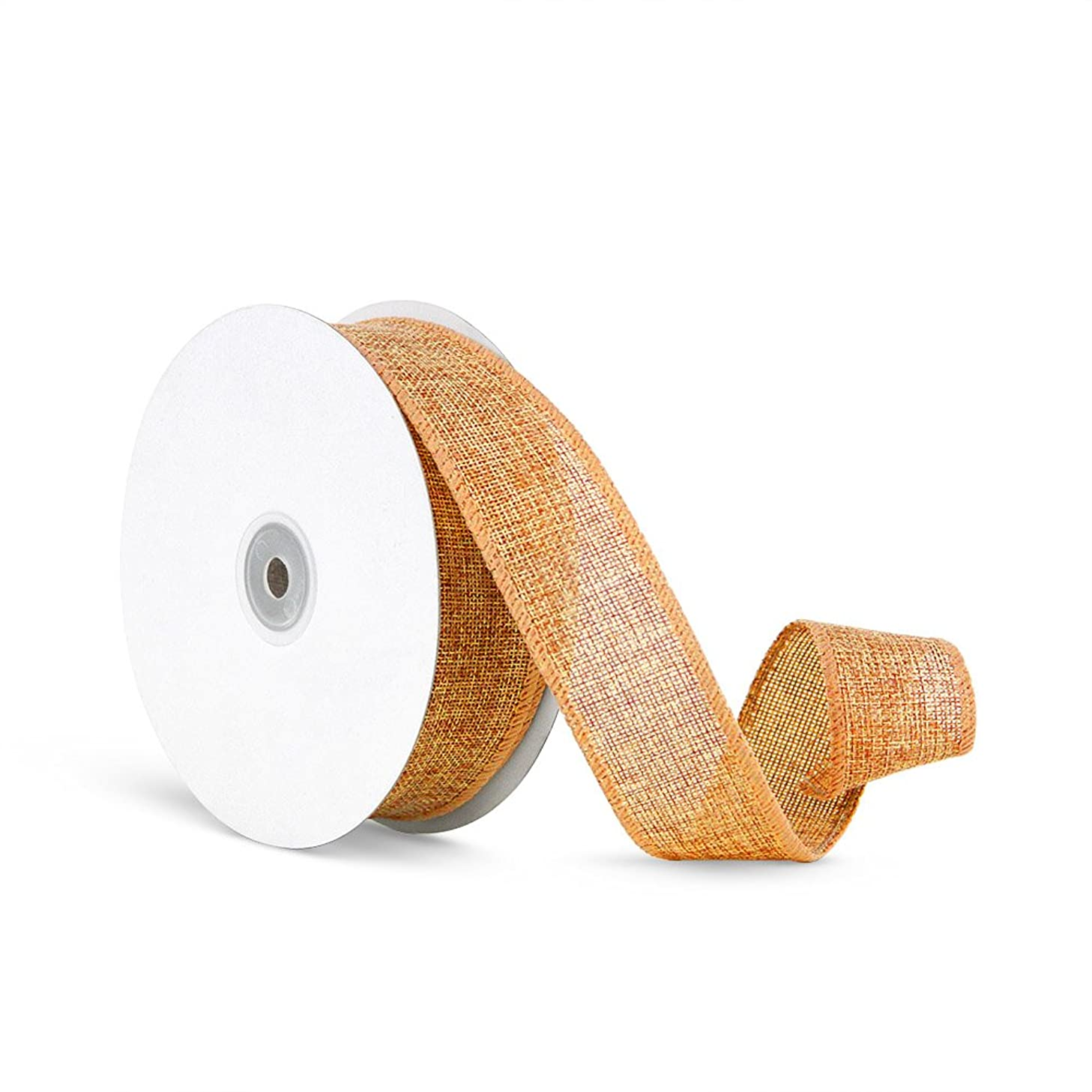 Craft Faux Burlap Jute Wired Ribbon, 1.5 Inches by 25 Yards - Orange