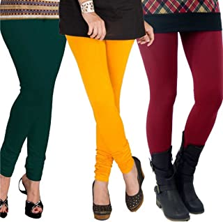 Pixie Leggings Set for Women's/Girls by Pixie in Combo (Pack of 3) Dark Green, Dark Yellow and Maroon- Free Size