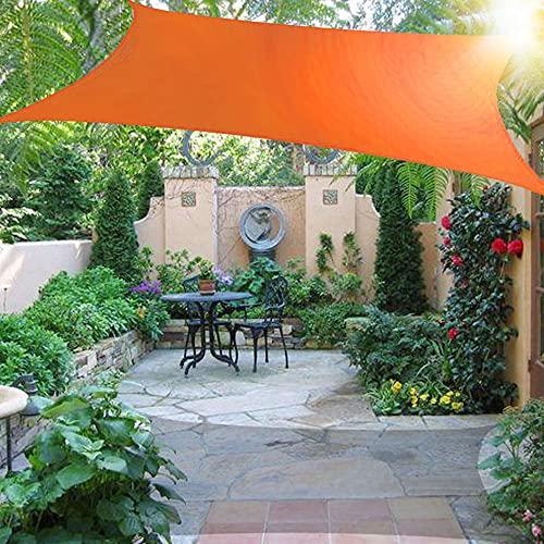 Wsaman Toldo Vela de Sombra 6mx6m, Vela de Sombra Prevención Rayos UV Poliéster Toldo Toldo Impermeable Toldo Vela Antidesgarro con Kit De Hardware para Exterior, Jardín, Terrazas,Dark Orange