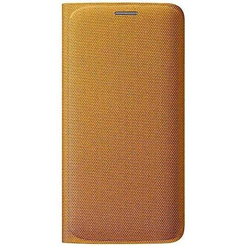 Samsung Custodia Flip Wallet in Tessuto per Galaxy S6 edge, Giallo [EU]