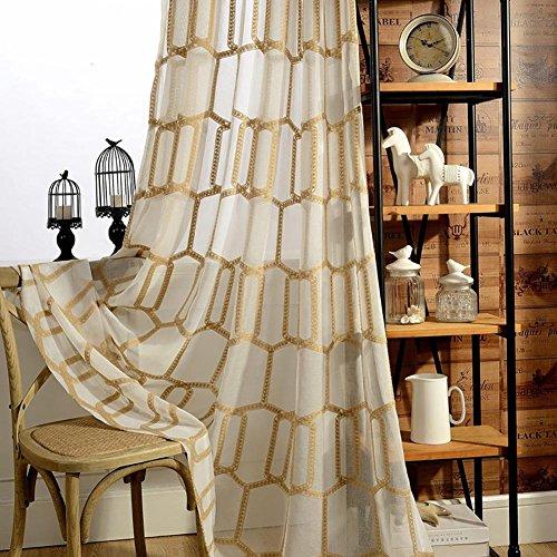 TINE HOME CURTAINS Gordijnen & Drapes Sheer Gordijnen Honingraat vorm Polyester Voor Window Treatments Afgewerkt product Woonkamer Grommet top Een Panel
