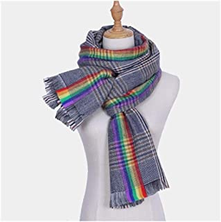 Rainbow Plaid Scarf Keep Warm Household Outdoor Oversized Shawl,Perfect Accent to Any Outfit (Color : 04, Size : 200 * 80cm)
