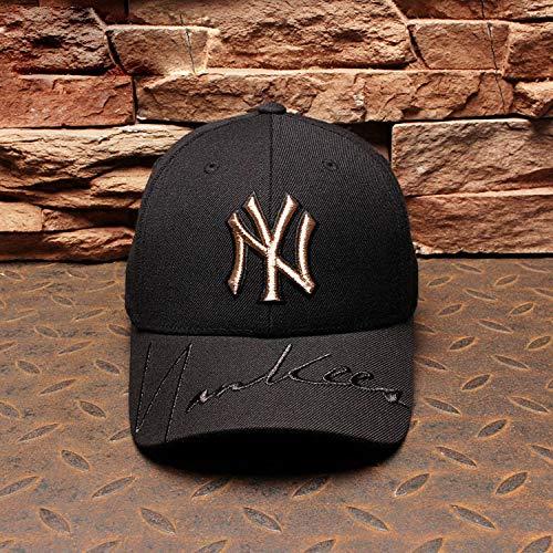 mlpnko New Baseball Cap Männer und Frauen Cap Gold Standard Yankees Hut Hip Hop Sport Hut Schwarz Einstellbar