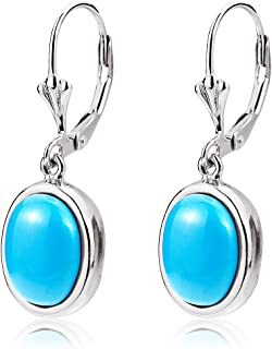 S SIFUNUO Turquoise Leverback Earrings Blue