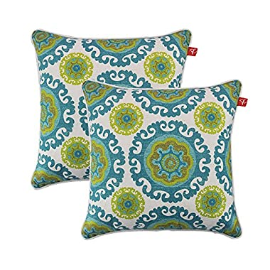 PacifiCasual Set of 2 Patio Indoor/Outdoor Decorative Throw Pillow Cover Cushion Case for Replacement 18  x 18 -Floral