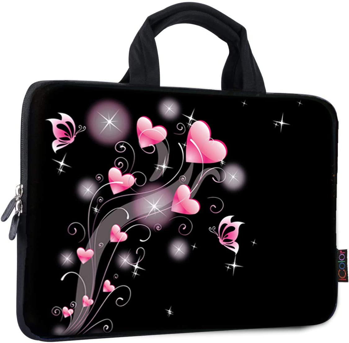 iColor 14 15 15.4 15.6 inch Laptop Bag Case Handle chromebook case Sleeve Computer Protect Case Pouch Holder Notebook Sleeve Neoprene Chromebook Cover Soft Carring Travel Case Pink Heart ICB-19