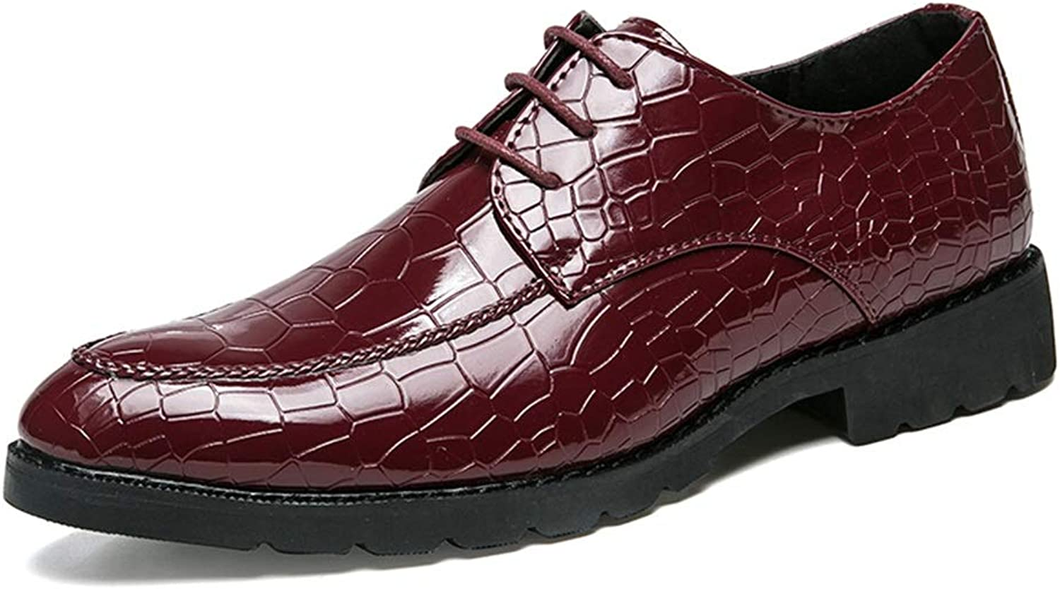 CHENXD shoes, Men's Fashion Pointed Toe Lace-up Oxford Casual Personality Texture Formal shoes