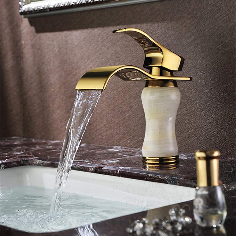 XHCP Waschtischmischer Badarmaturen Waschbecken Wasserhahn - Wasserfall Ti-Pvd Centerset Einhand EIN Loch Messing