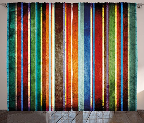 Ambesonne Stripes Curtains, Vertical Lines Colorful Retro Bands Damage Effects Old Fashion Weathered Display, Living Room Bedroom Window Drapes 2 Panel Set, 108' X 84', Green Red