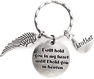 I Will Hold You in My Heart Until I Hold You in Heaven Angel Wing Brother Keychain 112C