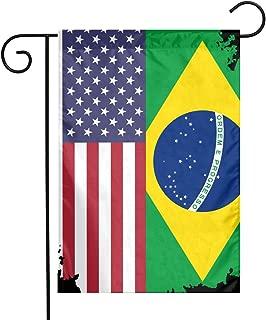 American Brazil Flag Garden Flag Decorative Yard Flags For Celebration,Festival,Home,Outdoor,Garden Decorations 12 X 18 Inch