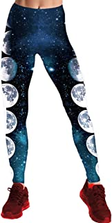 JOFOW Womens Leggings Solid Gradient Galaxy Universe Moon Eclipse High Waist Casual Fashion Stretch Skinny Long Sport Pants