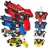VATOS Juego de Pistolas con función de pulverización y Pantalla LED Juego de 4 Pistolas de Juguete con Chalecos para niños, Adultos, Familia para 6 7 8 9 10 11 12+ niños niñas