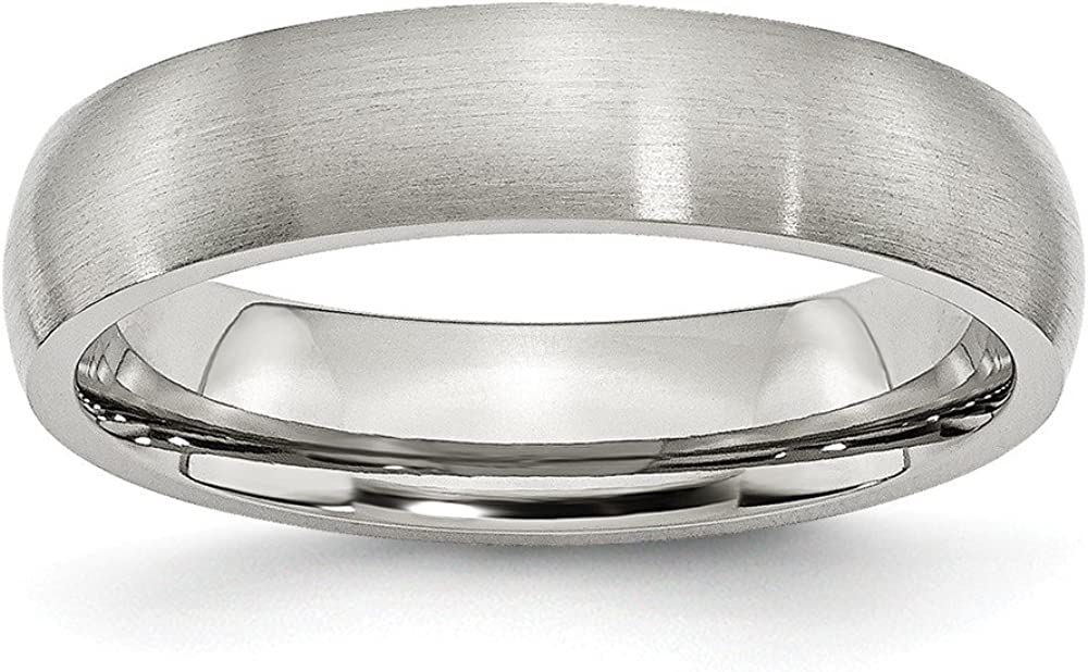 Stainless Steel 5mm Brushed Wedding Band