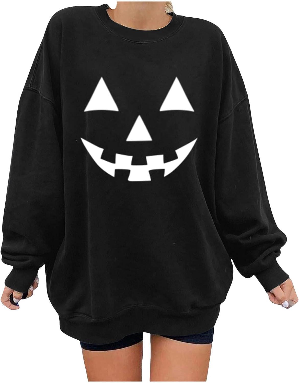 Kaitobe Halloween Sweatshirts for Women, Womens Long Sleeve Skeleton Pumpkin Print Oversized Shirts Loose Pullover Tops