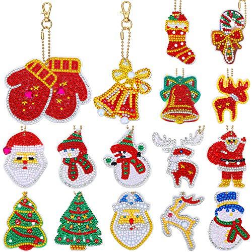 16 Pieces Christmas DIY Diamond Key Chain Christmas DIY Double Sided 5D Diamond Painting Keychains Full Drill Key Ring Pendants for DIY Christmas Art Crafts