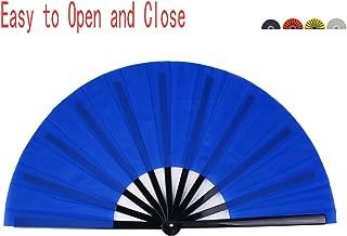 Folding Fan Chinese Hand Fan Performance Fan HONSHEN Nylon-Cloth Fan 13 inch (Blue)