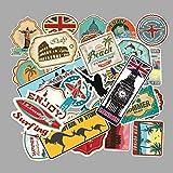 JIAQI Mapa de Viaje Country Famous Logo PVC Pegatinas Impermeables Niños Juguetes Decoración Maleta Bicicleta Coche Guitarra Monopatín 100 Unids/Set