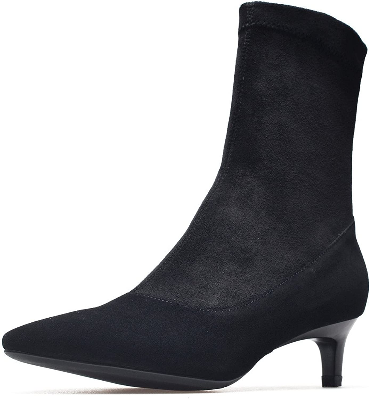 Nine Seven Suede Leather Women's Pointy Toe Kitten Heel Sexy Dress Handmade Mid Calf Boot