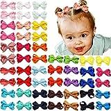 Joyoyo - 50 lazos para el pelo de bebé y niñas, 2 en mini pinzas de cocodrilo, totalmente cubiertos con cinta de grogrén accesorios para el pelo para Ba